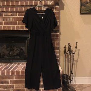 Loft petite black short sleeved jumpsuit